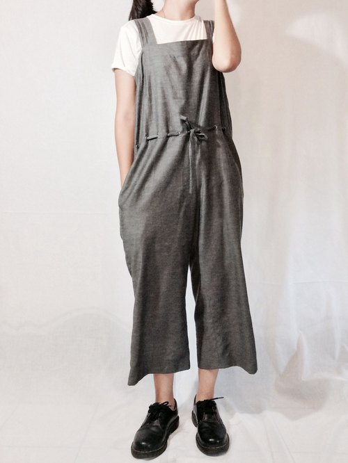 Black and gray pants coveralls