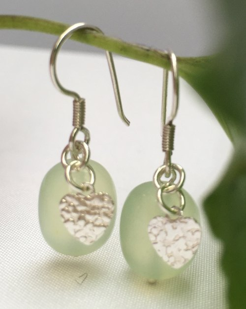 Fashion generous gift of choice - E0336- own production - natural stones - prehnite 925 sterling silver earrings