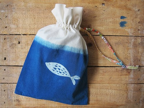 Herbal dyed drawstring bag- fish scooping