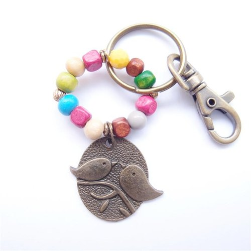 Metal bird beaded key ring