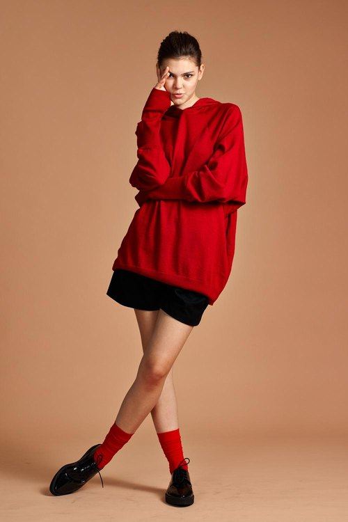 Red Women Merino Wool Sweater