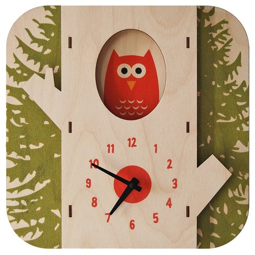 Modern moose-3D wall clock-tree owl clock