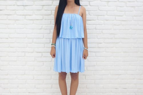 2015 New! Frill camisole Short dress <Blue>