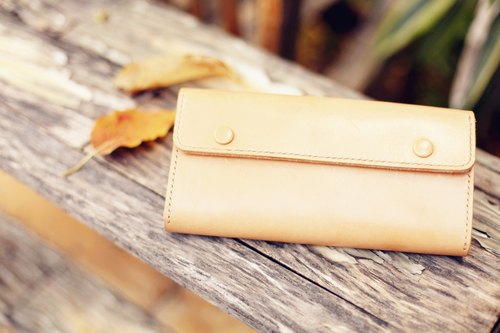 [Good day] handmade vegetable tanned leather folder simple long