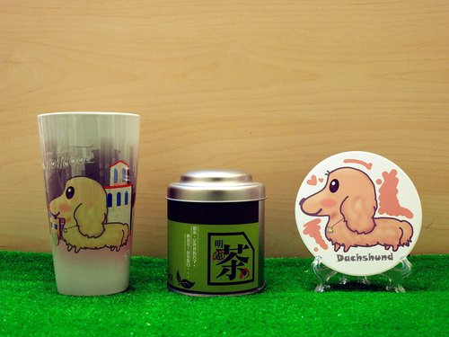 """Father Tea X NONCOOL"" Dog series - cream long-haired dachshund. Tea gift (latte cup)"