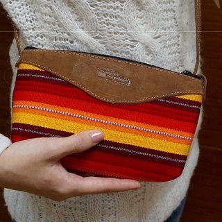 瑪雅手工編織斜背包可調整長度-橘色調HANDWOVEN COTTON CROSSBODY PURSE