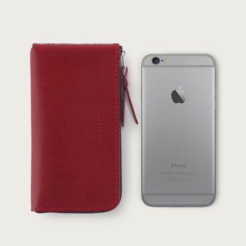 "LINTZAN ""hand-stitched leather"" zipper iPhone 7 / iPhone 6s phone holster - red wine"