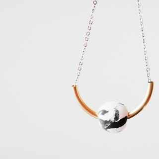 Marble Black Arc Necklace-31