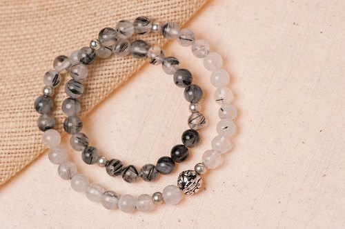 [Lucky] Woody'sHandmade. Dance silver beads, hair crystal bracelets. Prosperity - Silver pí xiū bead with Black Rutilated quartz