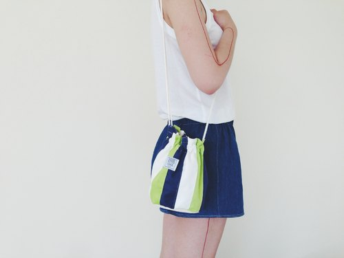 :::Bangstree:: Shoulder Bucket Bag -Green+White+DarkBlue