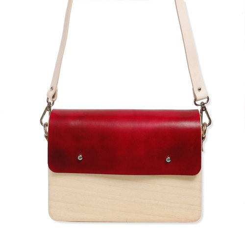 Wooden Shoulder Bag (Large) ( Burgundy )