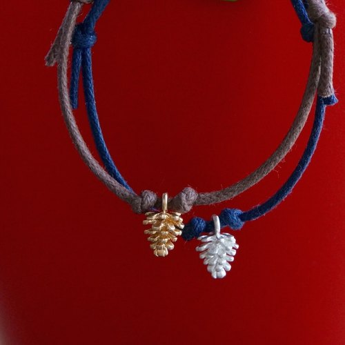 ITS: 873 [minimalist series · Christmas greetings] Brass / wax rope bracelet 1. Coffee / dark blue.