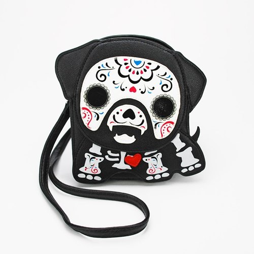 Sleepyville Critters - Tattooed Skeleton Dog With A Heart Shoulder Crossbody Bag