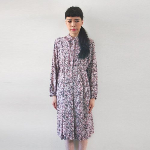 (Special) Electric embroidery Lace long-sleeved pink vintage dress