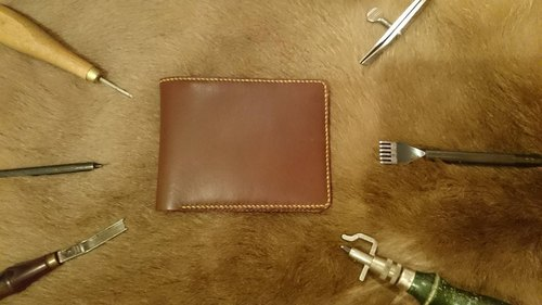Hand-tanned leather short clip BY L'Chaim Leathercraft