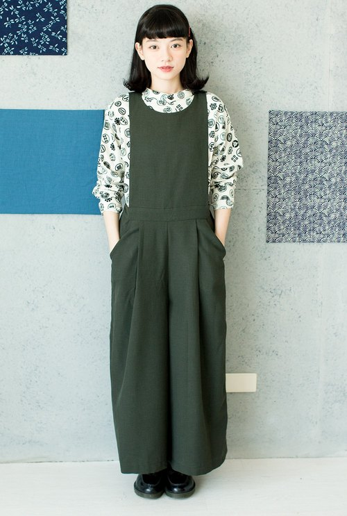 Dark green vest one-piece pants