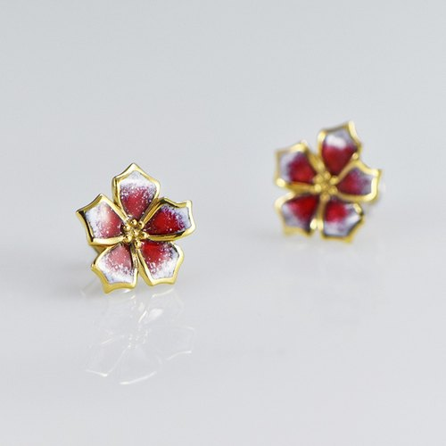 [Wonderland] cherry falling snow - Christmas red skull 925 silver earrings