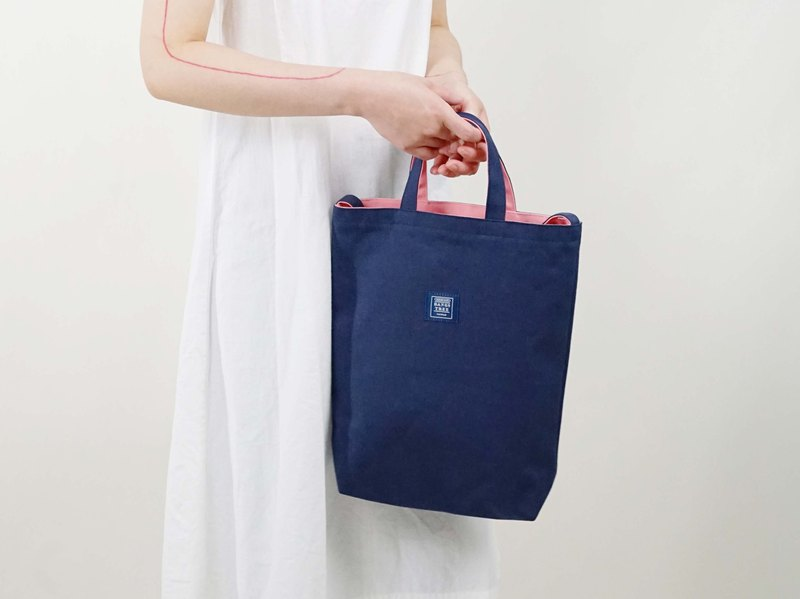 ::Bangstree:: two-colored reversible canvas bag -DarkBlue+Pink