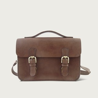 Double buckle small bag / side backpack - dark brown