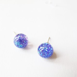 Rosy Garden * Blue Purple Cosmic Galaxy Flow Pink Crystal Glass Ball Needle Earrings