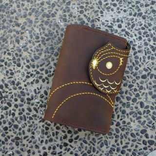 Brown owl PDA hand-stitched leather A7 Binder 6 hole folder 141002