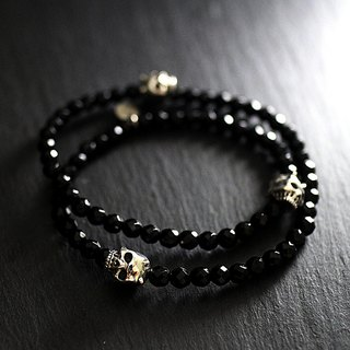 Sterling silver double circle demon skull bracelet (cut face black agate)
