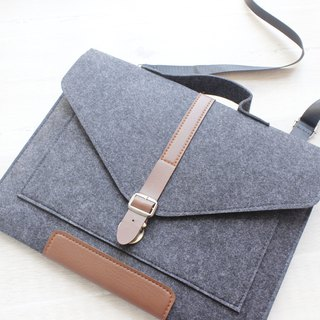 Original handmade dark gray blankets Apple computer protective cover blankets 12.9 inch iPad Pro plus keyboard sets of pen packs computer bag iPad Pro plus keyboard (can be tailored) - 069