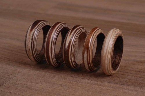 Wood color wood series handmade custom ring anti-villain tail ring / Valentine Ring