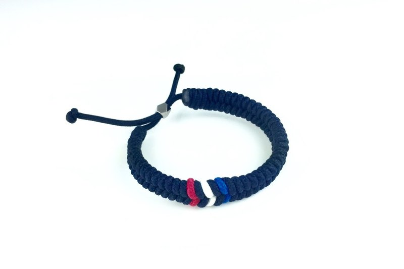 """Red, white and blue striped blue braid"""