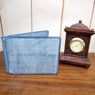 During the journey series - hand-stitched leather note holder wallet (Jeans Color)