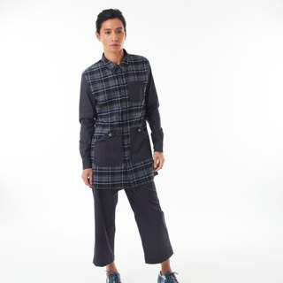 Sevenfold - Bicolor plaid stitching shirt color stitching Plaid Shirt (dark blue)