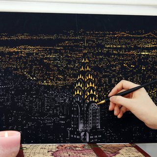 Lago - Hand Scratch City Golden Night with Scratch Pad - New York, LGO93416