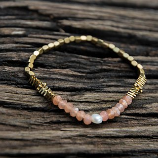 Orange Moonstone Pearl Brass Bracelet (04) - Tote