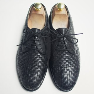 80s black woven Derby leather shoes | Woven Dress Derby Eur40