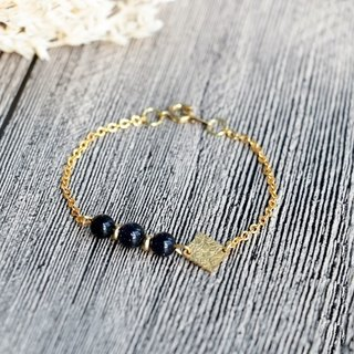 European-style diamond-shaped geometric blue sandstone plated 16K gold bracelet Slim style bracelet minimalist geometry. Personality. Valentine's Day gift. Birthday gift.