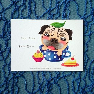 Pug Postcard-Tea Time