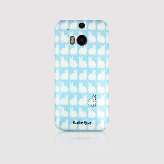 (Rabbit Mint) Mint Rabbit Phone Case - blue bunnies pattern Series - HTC One M8 (P00073)