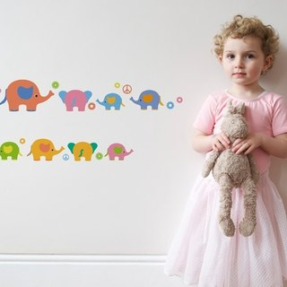Smart Life creative seamless wall stickers colorful elephant