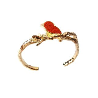 Handmade Red Bird Cuff Bangle in Metal