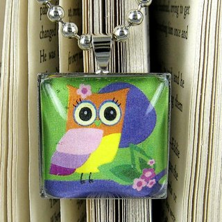 Glass Gemstone Pendant Necklace - Cute Owl