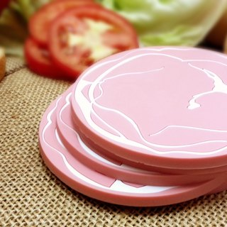 Eat breakfast together! Ham shaped coasters