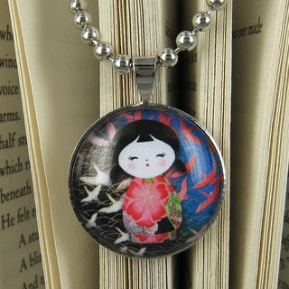 Glass Gemstone Pendant Necklace - Japanese wind doll