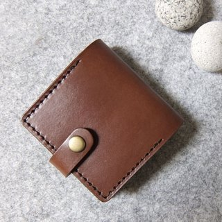 Handmade leather buckle design leather-Mini purse dark wood