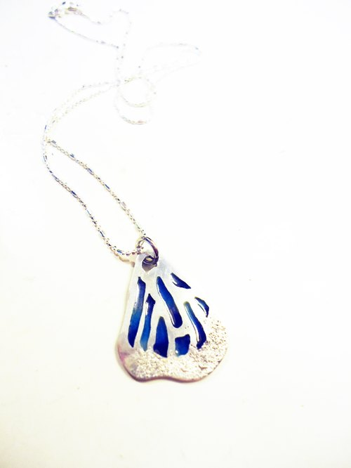 Transformation into Butterfly Necklace Butterfly green enamel necklace (small / blue)