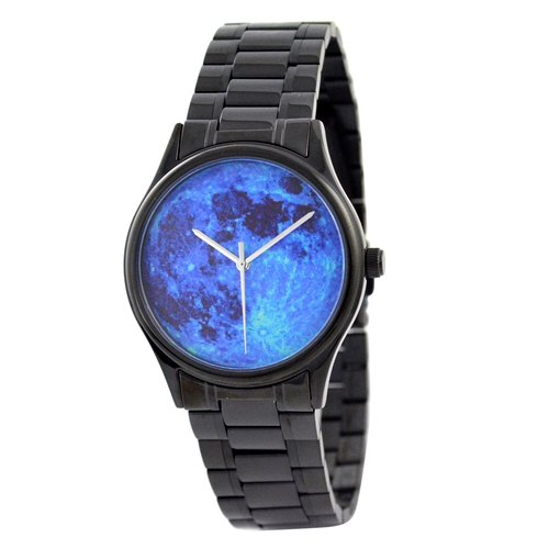 Moon Watch Blue black case with solid metal band - Free shipping worldwide