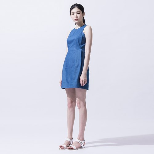 女收腰牛仔洋裝 Water Blue Denim Dress