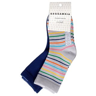 [Swedish] organic cotton children's socks 2 double color stripes / blue 6M-8Y