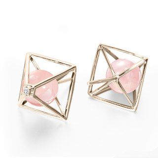 Rose Quartz Earring, Pink Gemstone Stud, October Birthstone Triangle Earrings