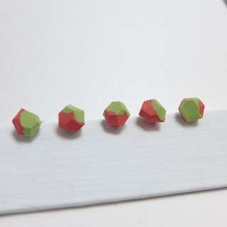 [NU Studio] ceramic series with three-dimensional personality sugar earrings - red and green (can change clip earrings)