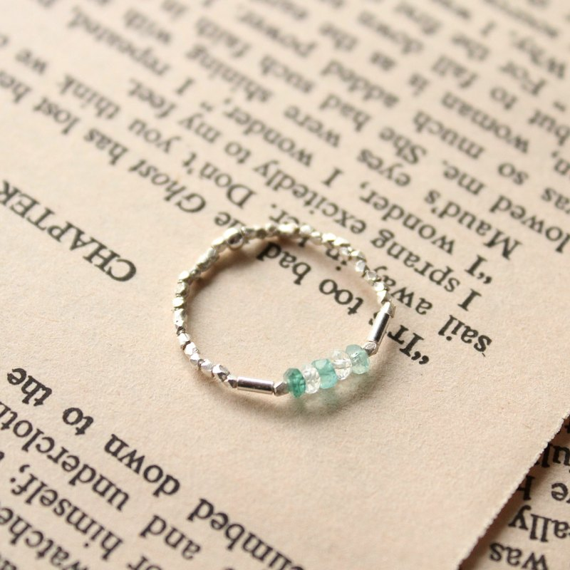 Journal (letter G - Gradient meticulous soft ring) - Silver handmade, emerald, aquamarine